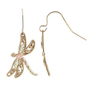 Black Hills Gold Tri-Tone Dragonfly Earrings
