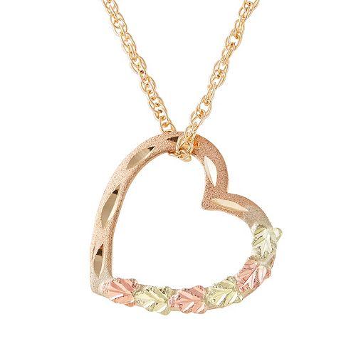 c4e06865fa7ac Black Hills Gold Tri-Tone Floating Heart Pendant