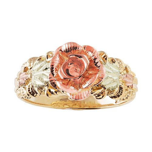 Black Hills Gold Tri-Tone Flower Ring
