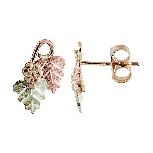 Black Hills Gold Tri-Tone Leaves & Grapes Stud Earrings