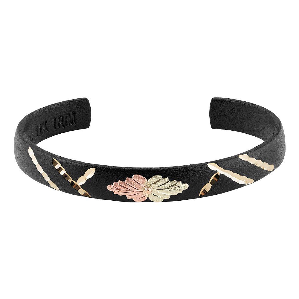 Black Hills Gold Tri-Tone Leaf Cuff Bracelet