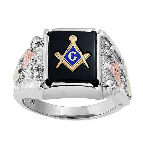 Black Hills Gold Men's Masonic Ring in Sterling Silver