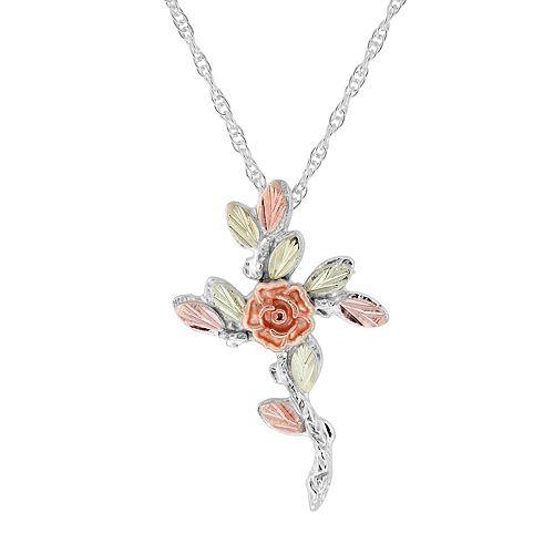 Black Hills Gold Flower Cross Pendant in Sterling Silver