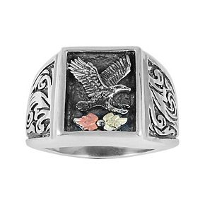 Black Hills Gold Eagle Ring in Sterling Silver
