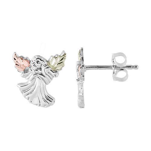 Black Hills Gold Angel Stud Earrings in Sterling Silver