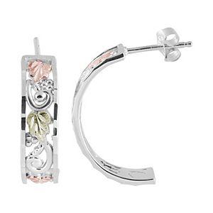 Black Hills Gold Filigree Semi-Hoop Earrings in Sterling Silver