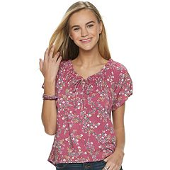 Juniors' Pink Republic Ruched Neck Top