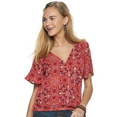 Juniors' Pink Republic Surplice Short Sleeve Top