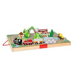 Melissa & Doug 17-Piece Wooden Take-Along Tabletop - Railroad