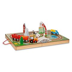 Melissa & Doug 17-Piece Wooden Take-Along Tabletop - Farm