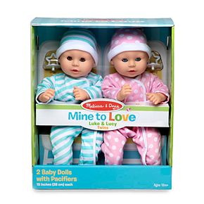 Melissa & Doug Mine to Love Twins Luke & Lucy 15 in. Boy and Girl Baby Dolls with Rompers, Caps, Pacifiers
