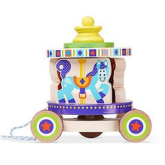 Melissa & Doug First Play Spinning Carousel Wooden Pull Toy