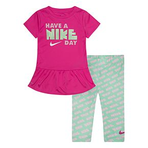 Toddler Girl Nike Dri-FIT Ruffle Tunic & Leggings Set