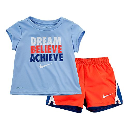 "Toddler Girl Nike Dri-FIT ""Dream Believe Achieve"" Tee & Shorts Set"