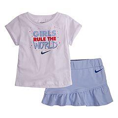 Toddler Girl Nike 'Girls Rule The World' Tee & Skort Set