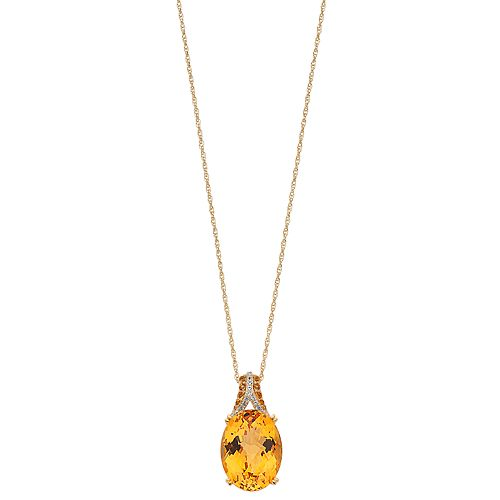 14k Gold Over Silver Citrine & Lab-Created White Sapphire Oval Pendant