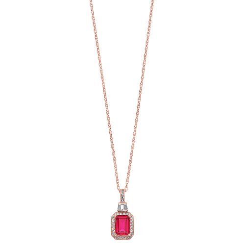 14k Gold Over Silver Lab-Created Ruby & Lab-Created White Sapphire Halo Pendant