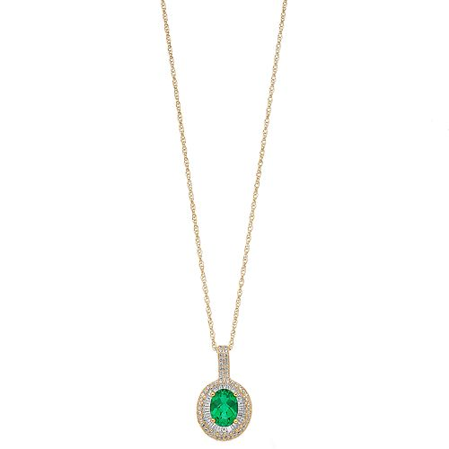 14k Gold Over Silver Lab-Created Emerald & Lab-Created White Sapphire Oval Halo Pendant