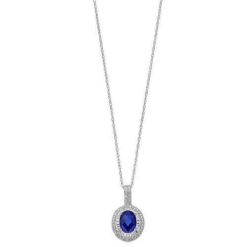 Sterling Silver Lab-Created Blue & White Sapphire Oval Halo Pendant