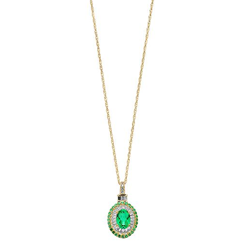 14k Gold Over Silver Lab-Created Emerald & Lab-Created White Sapphire Halo Pendant