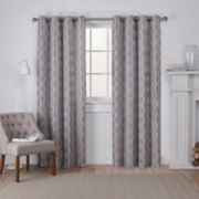Exclusive Home 2-pack Baroque Textured Linen Look Jacquard Window Curtains