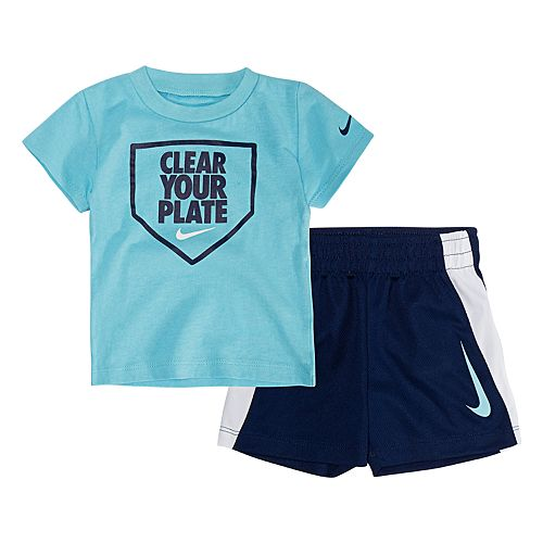 """Baby Boy Nike """"Clean Your Plate"""" Tee & Shorts Set"""