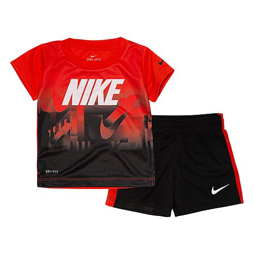 Baby Boy Nike Ombre Graphic Tee & Shorts Set
