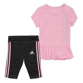 Toddler Girl adidas Peplum-Hem Tunic & Capri Leggings Set
