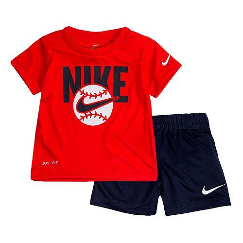 Baby Boy Nike Baseball Graphic Tee & Shorts Set