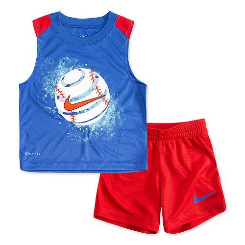 Baby Boy Nike Baseball Muscle Tee & Shorts Set