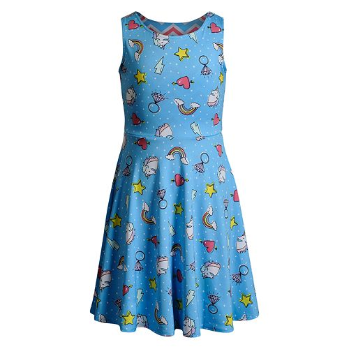 Girls 7-16 Emily West Printed Knit Reversible Dress