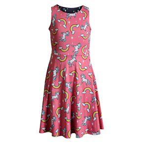 Girls' 7-16 Emily West Unicorn & Rainbows Knit Reversible Dress