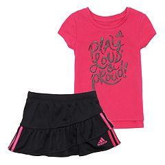 Toddler Girl adidas 'Play Loud & Proud' Tee & Ruffled Skort Set