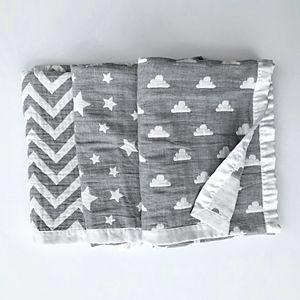 Living Textiles Cotton Muslin Jacquard Blanket