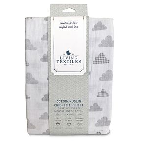 Living Textiles Baby Cotton Muslin Fitted Crib Sheet