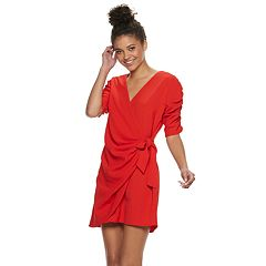 Juniors' Speechless Cinched Sleeve Wrap Dress