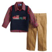 Toddler Boy Great Guy Train Sweater Vest, Plaid Shirt & Pants Set