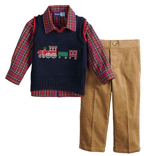 Toddler Boy Great Guy Train Sweater Vest, Plaid Shirt & Pants Set