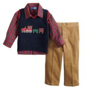 Baby Boy Great Guy Train Sweater Vest, Plaid Shirt & Pants Set