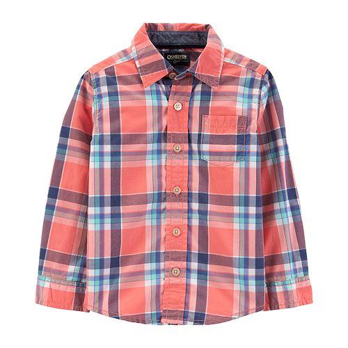 Toddler Boy OshKosh B'gosh® Plaid Poplin Shirt