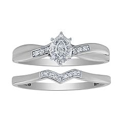 10K White Gold 1/10 Carat T.W. Diamond Flower Bypass Ring Set