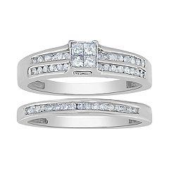 14K White Gold 1/2 Carat T.W. Diamond Quad Center Engagement Ring Set