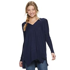 Juniors' Miss Chievous Drapey Long Sleeve Tunic