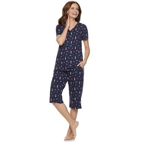 d8d1c02b2bdaa Women's Croft & Barrow® Sleep Henley & Skimmer Capri Pajama Set