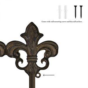 Rustic 3-Hook Fleur De Lis Wall Decor