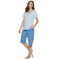 Petite Croft & Barrow® Sleep Henley & Capri Pajama Set