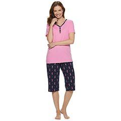 Petite Croft & Barrow® Sleep Henley & Capri Pajama Set