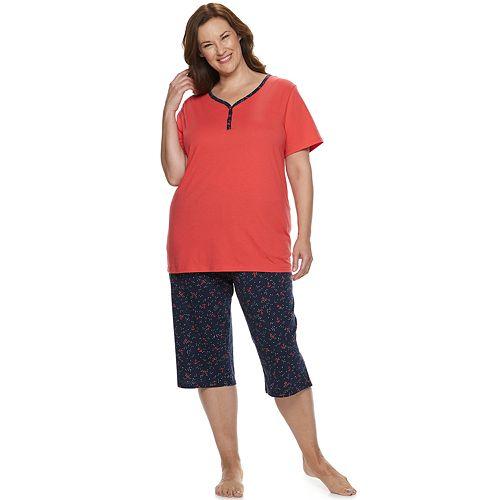 Plus Size Croft & Barrow Sleep Henley & Skimmer Capri Pajama Set