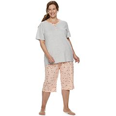 Plus Size Croft & Barrow Sleep Henley & Skimmer Capri Pajama Set