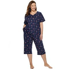 Plus Size Croft   Barrow Sleep Henley   Skimmer Capri Pajama Set e7a040f37